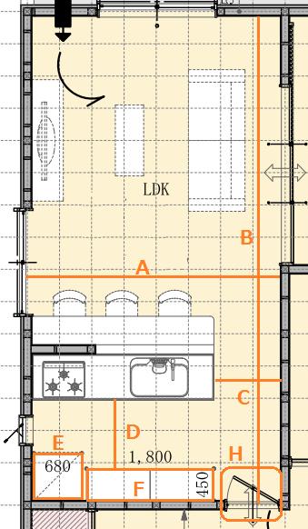 DIYキッチン LDK採寸方法